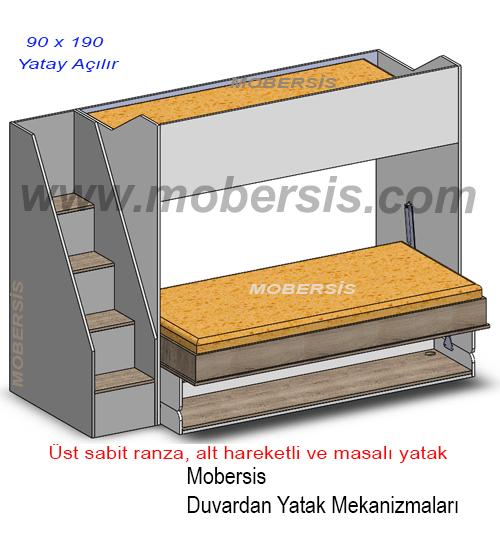 90x190 Tek Açılır Masalı Katlanır Ranza Sistem Mekanizması